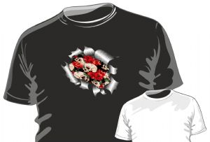 RIPPED TORN METAL Design With Tattoo Style Skull and Red Roses Motif mens or ladyfit t-shirt